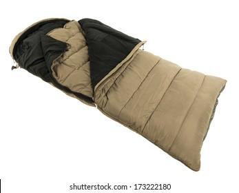 Warm sleeping bag isolated on white baground