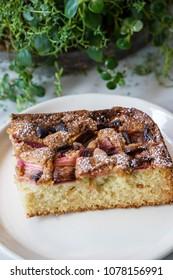 Warm Slice of Sweet Strawberry Rhubarb Cake Bread