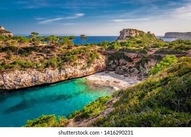 warm spring day in calò des moro beach, mallorca, spain