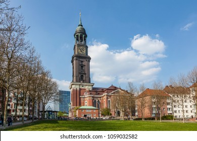 warm summer day at the meadow in front of the Michel, the famous church in Hamburg