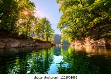 warm summer lake Slovakia Ruzin