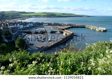 Warm Summers Day Overlooking Coastal Town Stock Photo (Edit