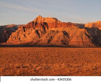 Warm sunrise light at Nevada's Red Rock Recreation area near Las Vegas.