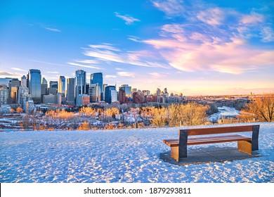 Warm sunrise over downtown Calgary