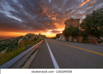 Warm sunset glow on the hoodoos along the Catalina Highway on Mt. Lemmon near Tucson, Arizona.