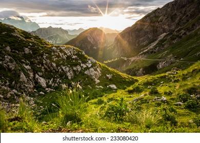 Warm sunset in Julian Alps