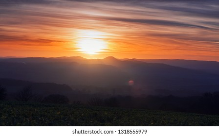 Warm sunset light over scenic hills of Shropshre in United Kingdom