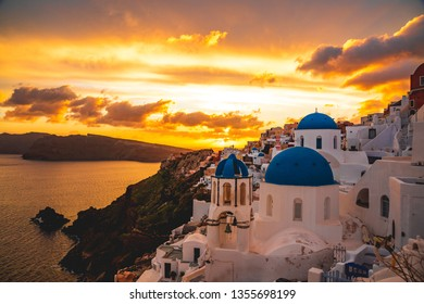 a warm sunset in Santorini, Greece