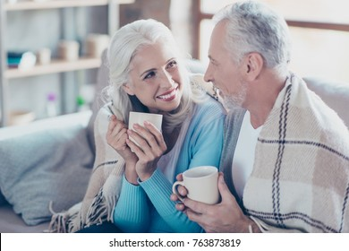 Warm sweet peaceful conversation between two  full of happiness old people who are resting, relaxing, sitting at home and drinking hot coffee at the vacation