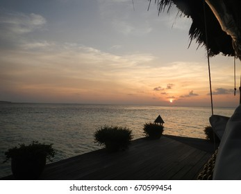 Warm tropical evening sunset with ocean view