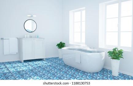 warm water on a blue bath 3d rendering