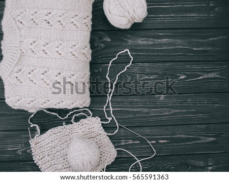 Warm White Knitted Sweater Knitting Needles Stock Photo Edit Now