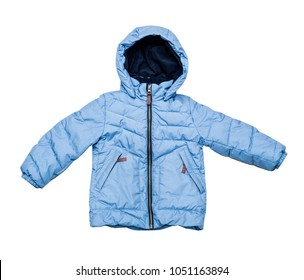 Warm winter children's down jacket. Blue jacket with a hood with a zipper. Isolated on white.