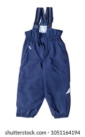 Warm winter children's pants on the straps. Dark blue semi-overalls. Isolated on white.
