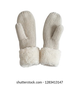 Warm winter clothes. Knitted mittens isolated on white background.
