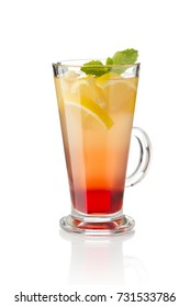 warming hot drink with lemon, ginger and the addition of berry syrup. Drink on a white background