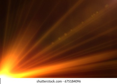 Warming sun rays isolated on black background for overlay design or screen blending mode
