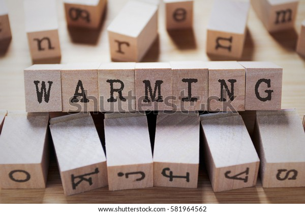 Warming Word In Wooden Cube