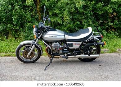 Warminster, Wiltshire, UK - August 22 2015: A Moto Guzzi V1000 G5 Motorcycle