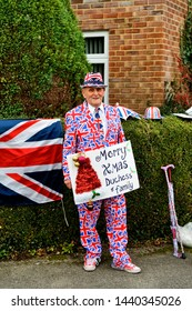 Warminster, Wiltshire/ UK - December 10 2015: Royal superfan Terry Hutt awaits the arrival of the Duchess of Cambridge as she visits the Centre for Addiction Studies in Ash Walk, Warminster, Wiltshire