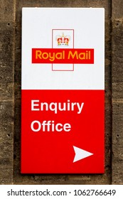 Warminster, Wiltshire, UK - October 7, 2012: A Royal Mail enquiry office sign