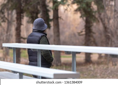a warmly dressed unknown woman looks away from the back of the bleachers and into the woods