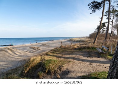 WARNEMUENDE, GERMANY - FEBRUARY 15: The beach at Warnemuende on a beautiful sunny winter day. February 15, 2020 in Warnemuende, Germany