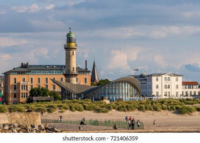 Warnemuende, Germany - June 23, 2015: View from the seaside  to the beach and city center and the famous old lighthouse of Warnemuende