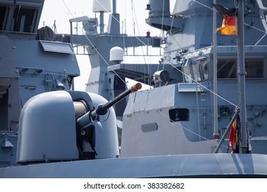 WARNEMUENDE / MECKLENBURG- WEST POMERANIA - JUNE 2015: cannon on german corvette at open day presentation in naval base, warnemuende / germany circa June 2015.