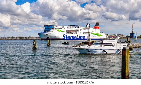 Warnemunde, Germany - July 14, 2017: The ferry Skane of the shipping company Stena Line leaves the port of Rostock (Germany) towards Trelleborg in Sweden.
