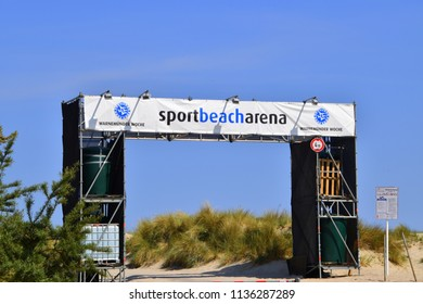 Warnemunde, Germany - June 8, 2018: Entrance to sport beach arena on the beach in the resort town of Warnemunde, Germany on this date
