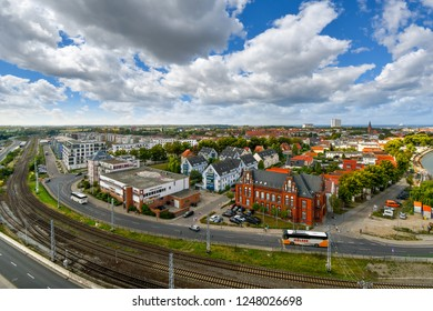 Warnemunde Rostock, Germany - September 5 2018: View of the city, Baltic Sea, and old town in the coastal port city of Warnemunde, Rostock, Germany.