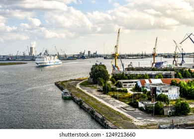 Warnemunde Rostock, Germany - September 5 2018: A TT-Line passenger ferry travels from Germany to Sweden through the industrial boat on the Baltic Sea in Warnemunde Rostock, Germany