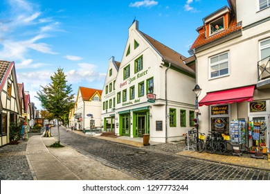 Warnemunde Rostock, Germany - September 5 2018: The picturesque coastal town of Warnemunde Germany with it's quaint shops, cobbled streets sits on the Northern Edge of Germany on the Baltic Sea.