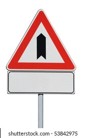 Warning crossroad with secondary road with billboard for free text