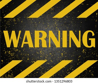 Warning danger signs word text painted over concrete wall cement texture background. Concept image for caution dangerous areas.