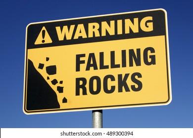 Warning Falling Rocks sign.