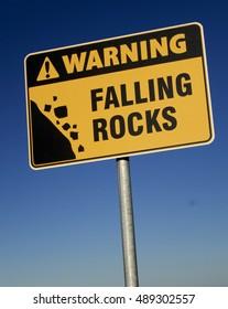 Warning: Falling Rocks sign on the Breakwater, Newcastle, NSW, Australia.