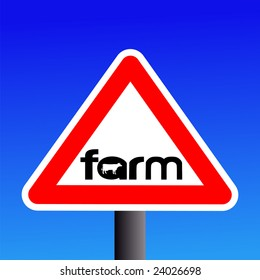 Warning farm sign with cow silhouette illustration JPEG