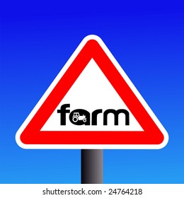 Warning farm sign with tractor silhouette illustration JPEG