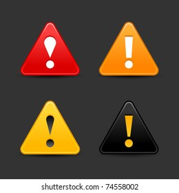 Warning icon web 2.0 button with exclamation mark. Satin triangle shape with shadow on gray. Bitmap copy my vector ID: 66298702