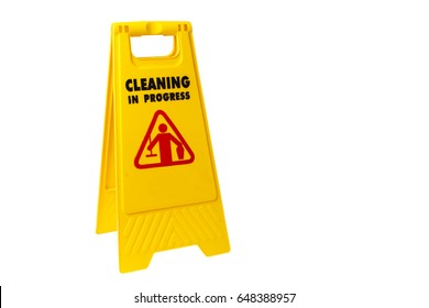 Warning janitorial sign cleaning in progress the isolated on white background. To warn people passing by for safety
