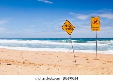 Warning no swimming sign, sydney Australia