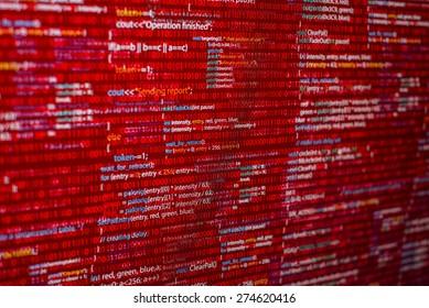 Warning red code listing  on software developer screen
