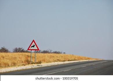 Warning of road sign - antelope  on the road in Namibia