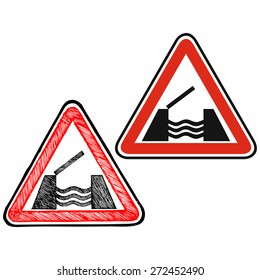 Warning road sign. Doodle style. Raster version