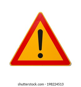 Warning road sign with exclamation mark isolated on white