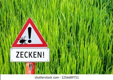 Warning sign Attention ticks