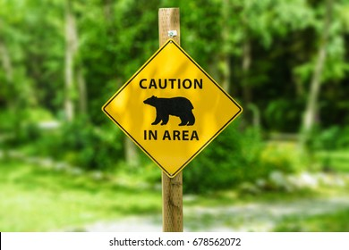 Warning sign board, Caution bear in area