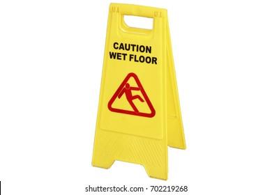 Warning sign; caution wet floor